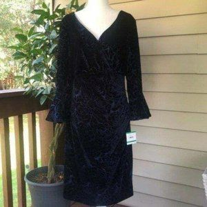 Anne Klein Navy Faux Wrap Dress, NWT, Size L